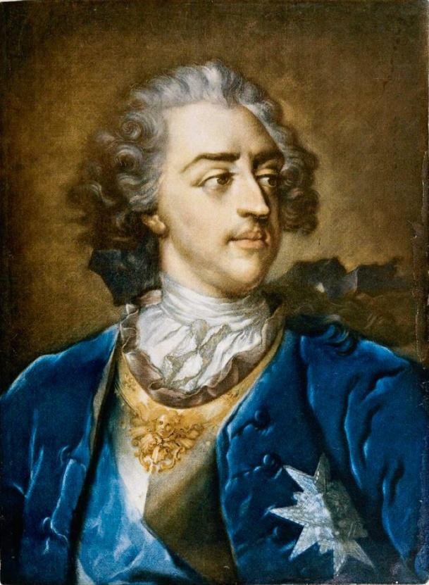 Retrato de Luis XV (grabado), Jacob Cristoph Leblon, 1739
